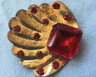 Vintage STERLING Pin/Brooch with Red Rhinestones