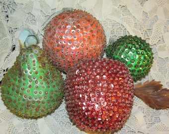 Vintage Sequin Fruit Holiday 4 Pieces Sequined Pinned Fruit Christmas Ornaments Decor