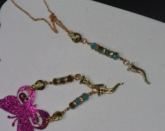 Gold and aqua beaded snake earring and necklace set
