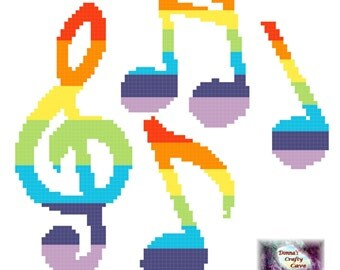 Rainbow Musical Notes (35) cross stitch chart music treble clef
