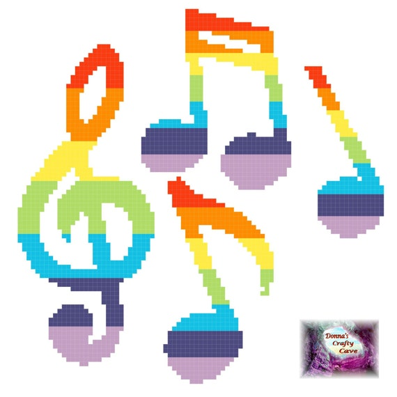 Rainbow Musical Notes 35 cross stitch chart pattern music