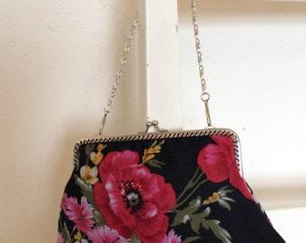 Handmade vintage floral  fabric clasp bag
