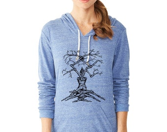 Eco-Friendly Jersey Pullover Hoodie, soft hoodie, yoga clothes, hoodie pullover, shirt hoodies, Twisted Tree, Tree Art