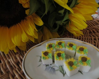 Sunflower Decorated Sugar Cubes