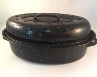 "Enamelware Roaster Black with White Specks 13"" Handle to Handle"