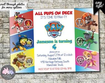 Paw Patrol Birthday Invitation, Paw Partol Party Invitation, Boy Bday, Second Third Fourth Fifth Sixth Birthday, 3rd 4th 5th 6th 7th 5x7