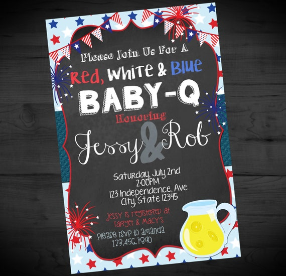 May The Fourth Be With You Baby Shower: July 4th Red White Blue Baby-Q Invitation Fourth Of July