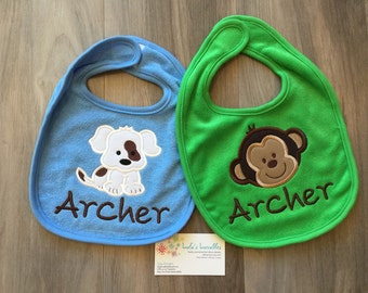 Personalized baby bib with applique, design your own custom bib.