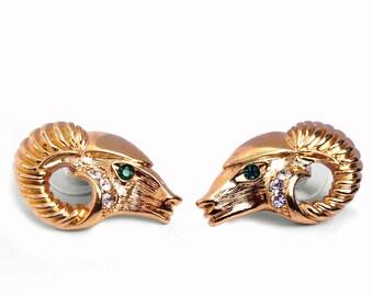 KENNETH JAY LANE ram's head design earrings