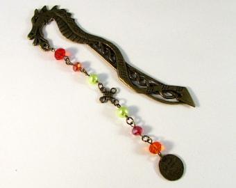 "Bronze Dragon Beaded Jeweled Bookmark (JB175) ""Well Behaved Women Rarely Make History"""