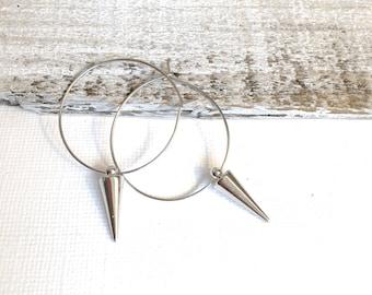 Silver Hoop Spike Earrings, Silver Spike Earrings, Bohemian Earrings, Gold Hoop Spike Earrings, Silver Spike Earrings, Boho, Hippie Hoops