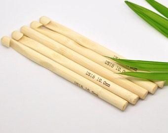 Bamboo Crochet Hooks 10mm/US 15 Knitting Needles 5 Pieces Bulk Wholesale Kit