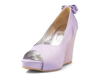 Lisa Purple Custom Made Wedges, Purple Lace Wedding Wedges, Platform Wedges, Bridal Wedding Wedges , Satin Peep Toe Wedges