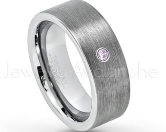 8mm Brushed Pipe Cut Tungsten Ring, 0.07ct Men's Amethyst Ring, February Birthstone Ring, Comfort Fit Tungsten Carbide Wedding Ring TN669BS