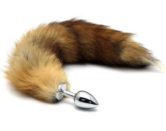 Fox Tail Butt Plug - Stainless Steel with Large Faux Fox Tail Cosplay Anime Sexy Cute Animal Furry