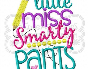 Little miss Smarty pants!! Embroidered Shirt/Bodysuit/Burp Cloth/Hand Towel!