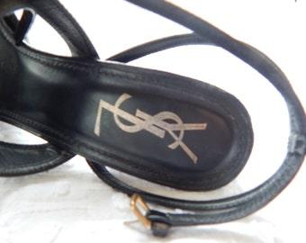 Vintage YSL ankle strap platforms Stunning