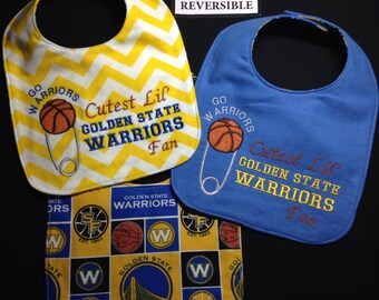 REVERSIBLE Golden State WARRIOR baby bib; Basketball Baby Bib, Cute, Handmade; Cutest Lil' Fan; Diaper pin Embroidery, may be personalized