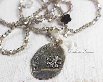 INSPIRATION smoke silver long necklace with pendant vintage boho