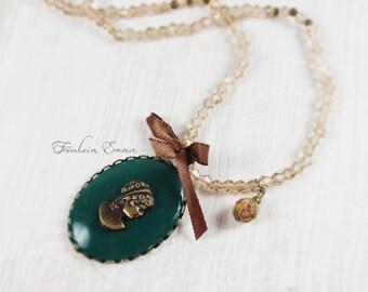 LADY MARY long necklace vintage boho honey bronze