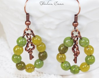 Boho earrings switch romance forest HIDEOUT green copper