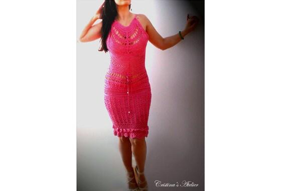 Pink crochet halter dress- Organic women boho sexy dress, cotton milk dress-Fitted corset crochet dress, pencil dress-Party,special ocassion