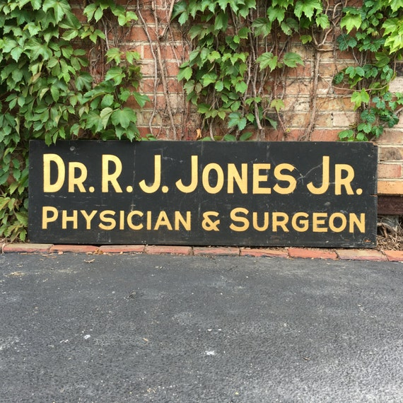 Antique Trade Sign, Hand Made Wood Physician & Surgeon Reflective Schmaltz Sand Paint Sign