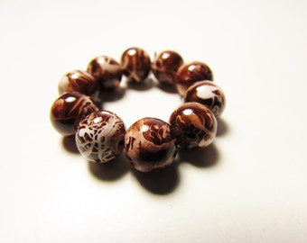 D-00928 - 10 Glass beads 8mm Coffeebrown