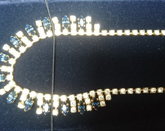Vintage boxed Swarovski blue and white stone necklace