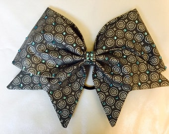 Gray fabric hand sewn cheer bow with light aqua rhinestone accents