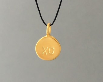 Gold or Silver XO Disc Silk String NECKLACE or BRACELET