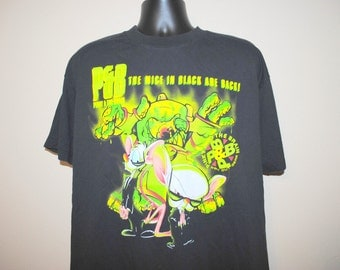 1995 P & B The Mice In Black Are Back Rare Vintage Pinky and the Brain Cult Classic 90's Animaniacs Spin Off Cartoon TV Show Promo T-Shirt