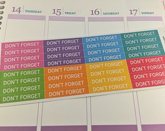 Don't Forget Header Stickers Planner Stickers, Rainbow Sticker, Life Planner, Header, Erin Condren, Plum Paper, MAMBI, planner accessory