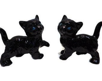 1960s 2 Coopercraft Black Cats Made in England Ceramic