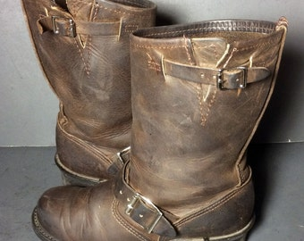 Frye 77400 Engineer Brown Leather Motorcycle Boots Women's Size 6