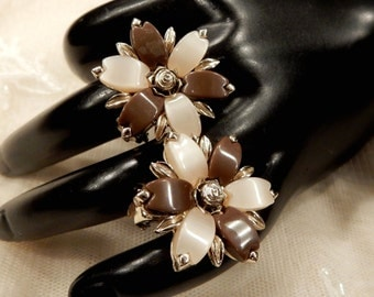 Vintage Brown and Satin White Moon Glow Floral Thermoset Earrings