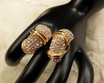 Vintage Ciner Encrusted Pave Rhinestone Earrings