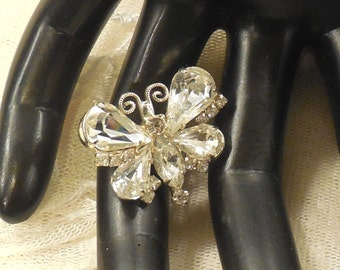 Petite Vintage Clear Rhinestone Butterfly Pin
