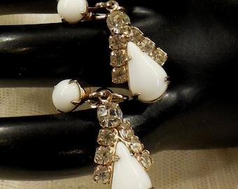 Vintage Milk Glass and Rhinestone Dangle Earrings