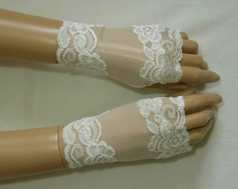 Holidays, Mittens, Ecru, Lace, Burlesque, Retro, Gothic, Short Fingerless Gloves with Thumb Holes. IDEAL for HER