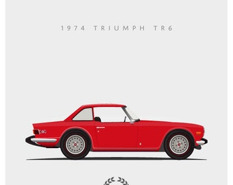 1974 Triumph TR6 - 8x10 inch Giclee Print - 4 colors available