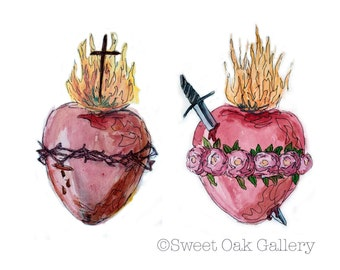 Sacred Heart of Jesus and Immaculate Heart of Mary Watercolor Painting 8x10, 5x7