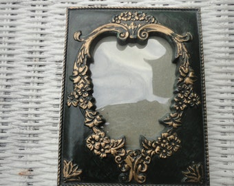 Vintage Dark-Green Frame with Ornate Gold Detailing