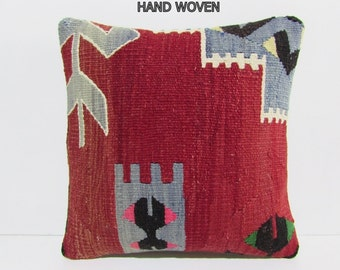 red throw pillow case red pillow cover red kilim pillow needlepoint pillow ethnic pillow cover red boho pillow blue kilim pillow sham D1550