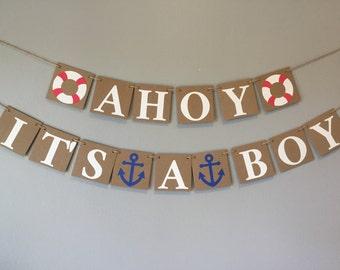It's a boy banner, ahoy it's a boy banner, nautical shower banner, boy banner, chipboard banner
