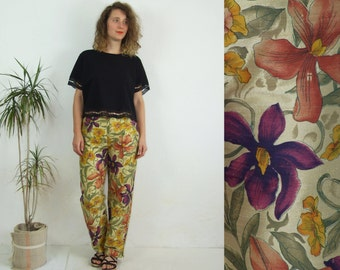 80's vintage women's colorful flower patterned silk pants