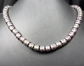 10mm Silver Beads and Purple Spacer Beads