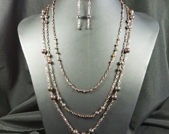 Sunset Jasper and Antique Cooper Necklace and Earrings