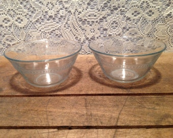 Set of two etched Fire king Clear Glass Custard Bowls