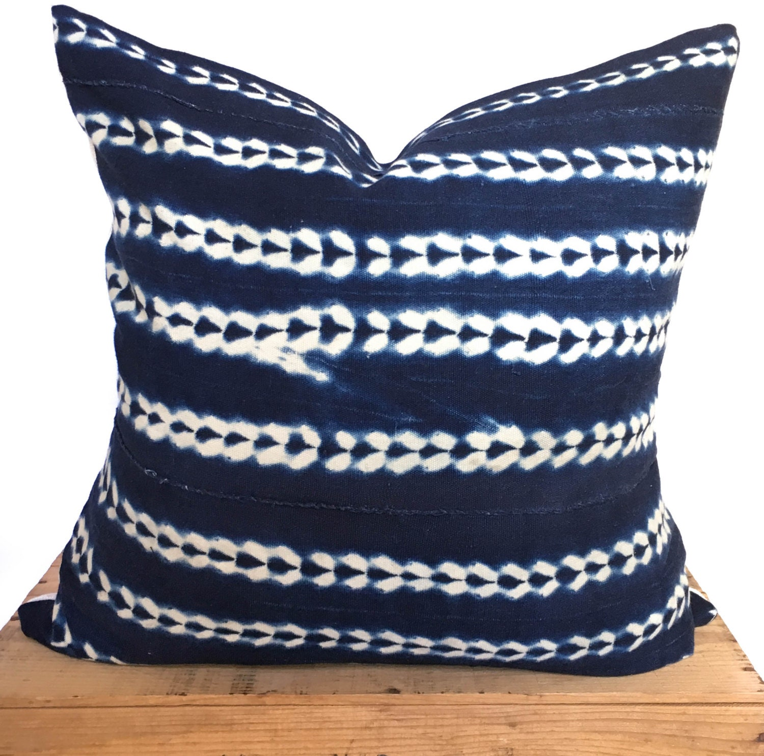 20 Inch Vintage Indigo African Mud Cloth Pillow Cover